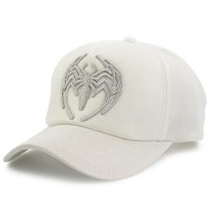 Mesh Spliced Spider Embroidered Baseball Hat - White - One Size