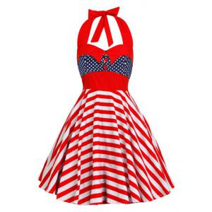 Backless Halter American Flag Vintage Dress