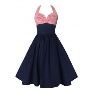 Halter Striped Backless Vintage Skater Dress