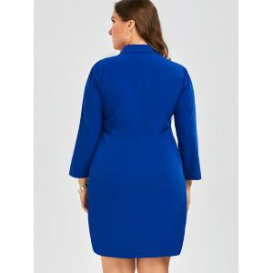 Plus Size Embroidered Shirt Dress With Sleeves - BLUE 2XL