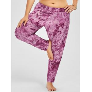 Side Slit Tie Dye Plus Size Harem Pants - Rose Madder - 6xl
