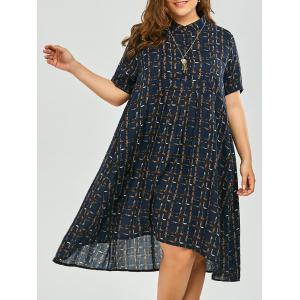 Plus Size Button Printed Midi Length Shirt Dress - Purplish Blue - One Size
