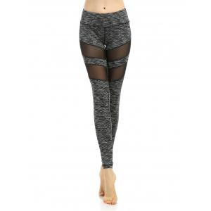 Mesh Panel Sports Leggings - Black Stripe - Xl