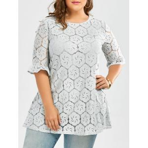 Plus Size Long Lace Hollow Out Blouse with Bell Sleeve - Blue Gray - 3xl