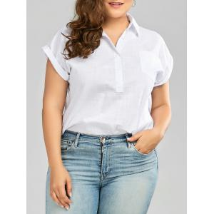 Plus Size Cuffed Sleeve Linen Shirt with Pocket - White - 2xl