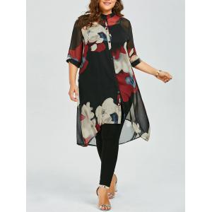 Plus Size Button Up Printed Chiffon Flowy Tunic Top - Red - 5xl