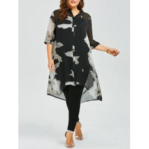 Plus Size Button Up Printed Chiffon Flowy Tunic Top - Black - 3xl