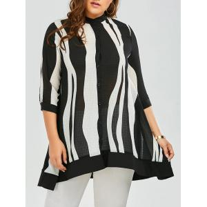 Two Tone Chiffon Plus Size Swing Tunic Top - Black - 2xl
