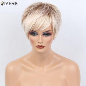 Siv Hair Colormix Short Side Bang Layered Silky Straight Human Hair Wig