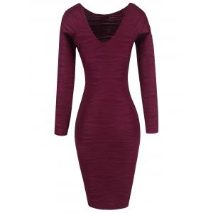 Ribbed Long Sleeve Bodycon Dress