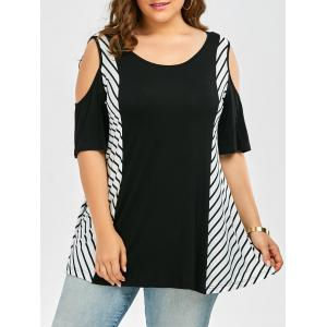 Plus Size Cold Shoulder Long Striped T-Shirt