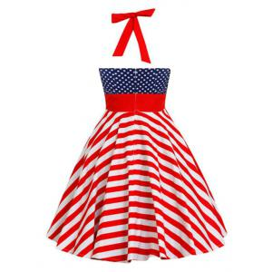 Backless Halter American Flag Vintage Dress - Polka Dot L