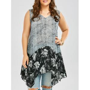 Plus Size Floral Heather Handkerchief Tank Top