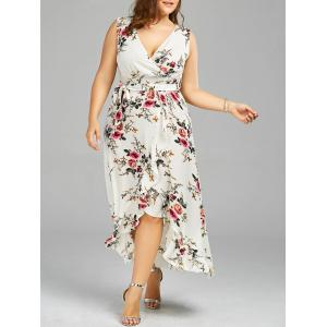 Plus Size Overlap Flounced Tiny Floral Dress - White - 2xl