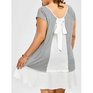 Plus Size Bowknot Decorated Flapper Tee Dress - Grey And White - 5xl