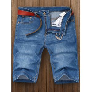 Metal Fastener Design Plus Size Zipper Denim Shorts