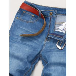Metal Fastener Design Plus Size Zipper Denim Shorts -