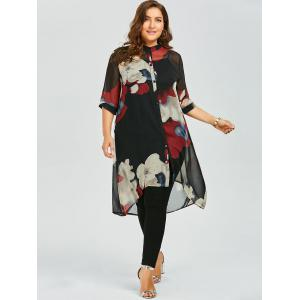 Plus Size Button Up Printed Chiffon Flowy Tunic Top - RED 5XL