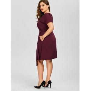 Plus Size Belted Knee Length A Line Dress With Pocket - WINE RED 2XL