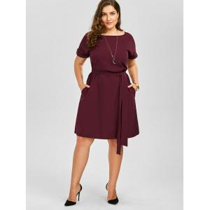 Wine Red 3xl Plus Size Belted Knee Length A Line Dress With Pocket ...