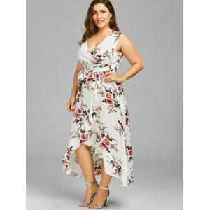Plus Size Overlap Flounced Tiny Floral Dress - WHITE 2XL