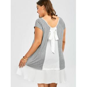Plus Size Bowknot Decorated Flapper Tee Dress - GREY AND WHITE 5XL