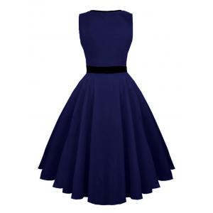 Hollow Out Vintage Skater Dress - Bleu Violet S