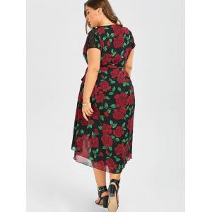 Plus Size Floral Print Tea Length Wrap Dress - BLACK 2XL