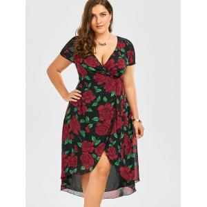 Plus Size Floral Print Tea Length Wrap Dress -