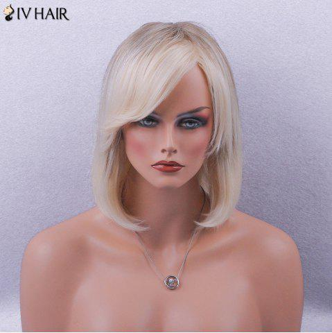 Hot Siv Hair Side Bang Straight Short Bob Colormix Human Hair Wig - BROWN AND GOLDEN  Mobile