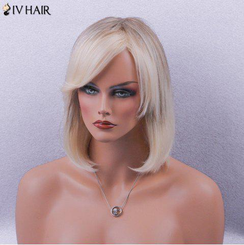 Shops Siv Hair Side Bang Straight Short Bob Colormix Human Hair Wig - BROWN AND GOLDEN  Mobile