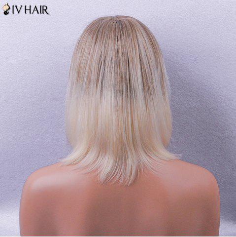 Outfits Siv Hair Side Bang Straight Short Bob Colormix Human Hair Wig - BROWN AND GOLDEN  Mobile