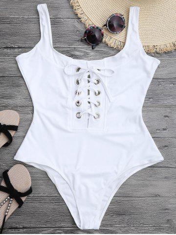 Solid Color Lace-Up One Piece Swimwear For Women