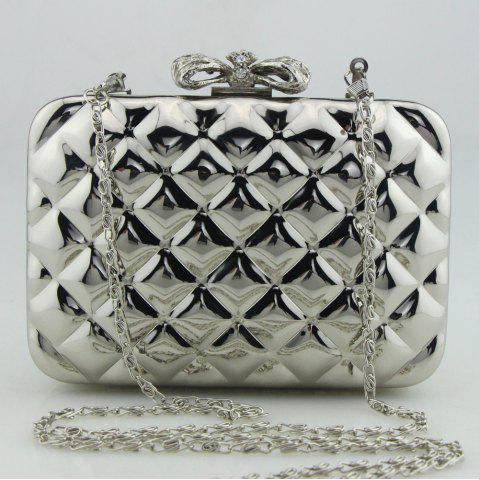 New Bowknot Metallic Geometric Evening Bag - SILVER  Mobile