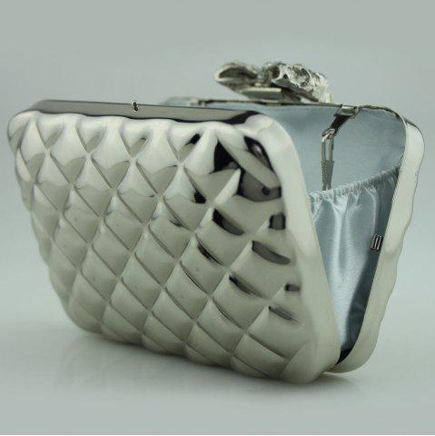 Online Bowknot Metallic Geometric Evening Bag - SILVER  Mobile