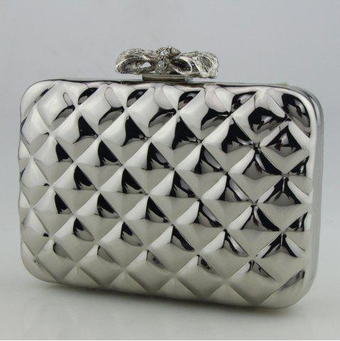 Store Bowknot Metallic Geometric Evening Bag - SILVER  Mobile
