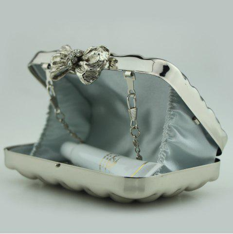 Discount Bowknot Metallic Geometric Evening Bag - SILVER  Mobile