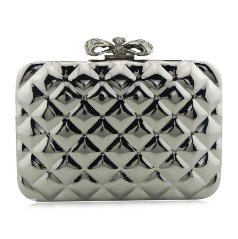 Affordable Bowknot Metallic Geometric Evening Bag - SILVER  Mobile