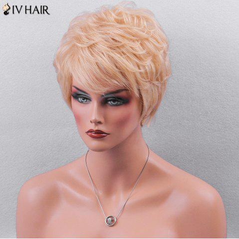 Affordable Siv Hair Side Bang Textured Layered Short Wavy Pixie Human Hair Wig - GOLDEN BROWN WITH BLONDE  Mobile