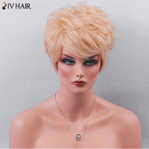 Best Siv Hair Side Bang Textured Layered Short Wavy Pixie Human Hair Wig - GOLDEN BROWN WITH BLONDE  Mobile