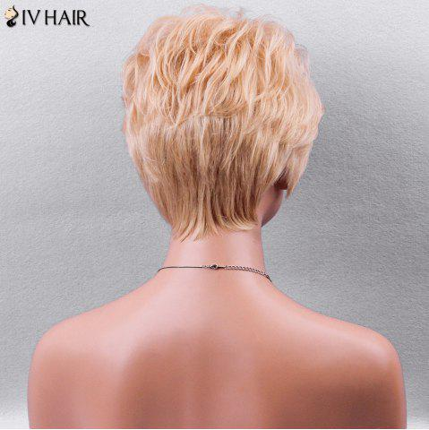 New Siv Hair Side Bang Textured Layered Short Wavy Pixie Human Hair Wig - GOLDEN BROWN WITH BLONDE  Mobile