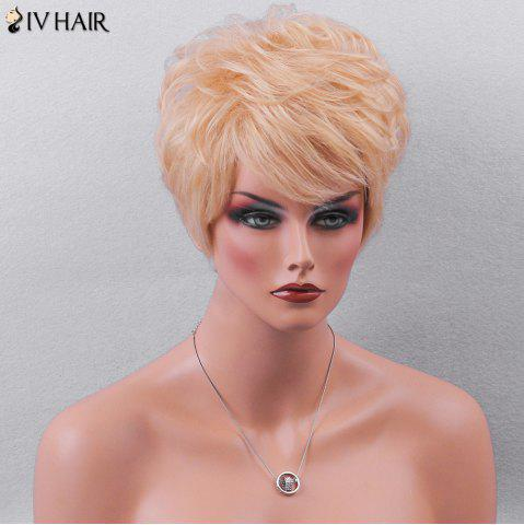 Shops Siv Hair Side Bang Textured Layered Short Wavy Pixie Human Hair Wig - GOLDEN BROWN WITH BLONDE  Mobile
