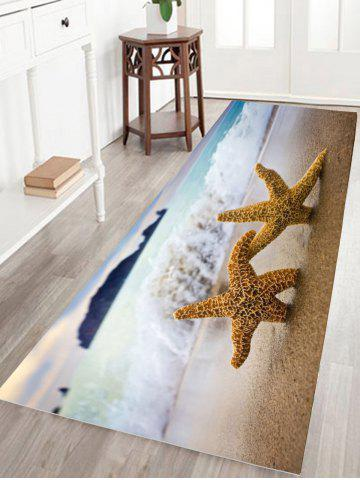 Sale Starfish Print Water Absorption Flannel Skid Resistant Bathroom Rug - W16 INCH * L24 INCH SAND YELLOW Mobile