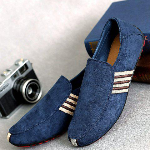 Outfit Striped Slip On Casual Shoes - 40 CERULEAN Mobile