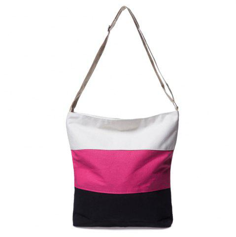 Chic Stripes Canvas Bag - ROSE  Mobile