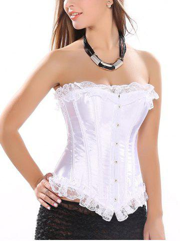 Chic Strapless Lace-Up Satin Corset Top WHITE 2XL