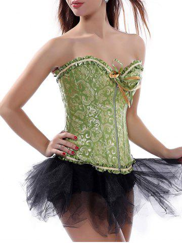 Store Ruffle Lace-Up Corset Top GREEN S