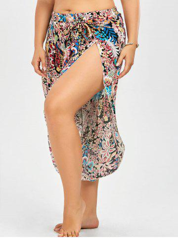 Unique Plus Size Belted Floral Tropical Slit Palazzo Pants - 2XL FLORAL Mobile