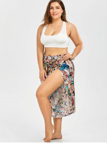 Latest Plus Size Belted Floral Tropical Slit Palazzo Pants - 2XL FLORAL Mobile