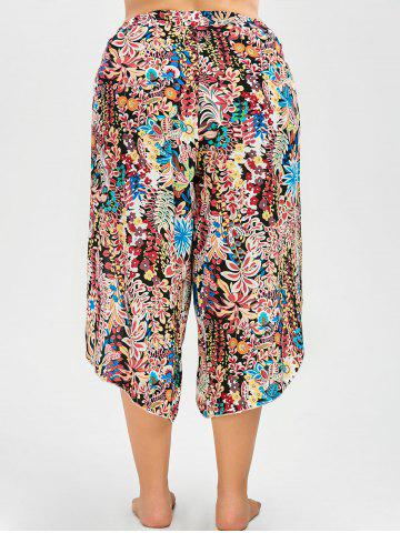 Best Plus Size Belted Floral Tropical Slit Palazzo Pants - 2XL FLORAL Mobile
